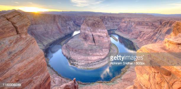sunset at horse shoe bend - dead horse point state park stock pictures, royalty-free photos & images