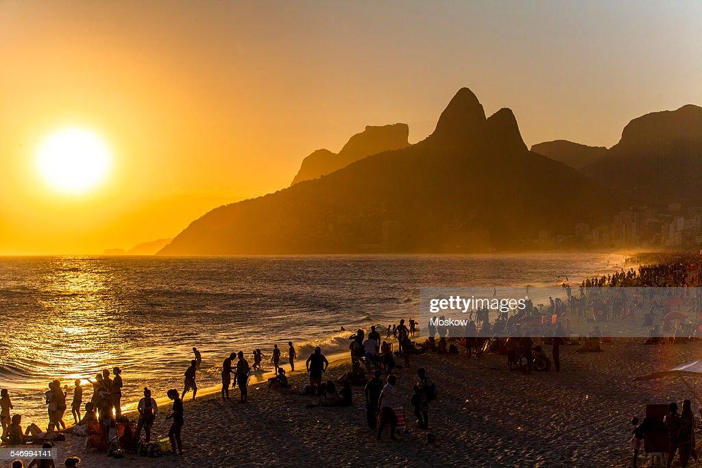 sunset at Ipanema beach : Stock Photo