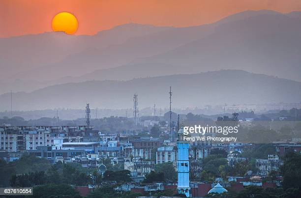 sunset at islamabad, pakistan - islamabad stock pictures, royalty-free photos & images