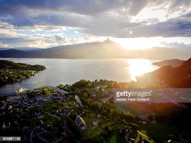 sunset at jondal - hordaland county stock pictures, royalty-free photos & images