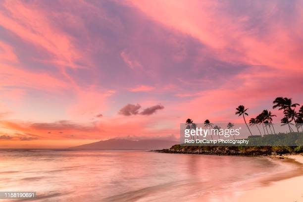 sunset at kapalua bay - hawaii islands stock pictures, royalty-free photos & images