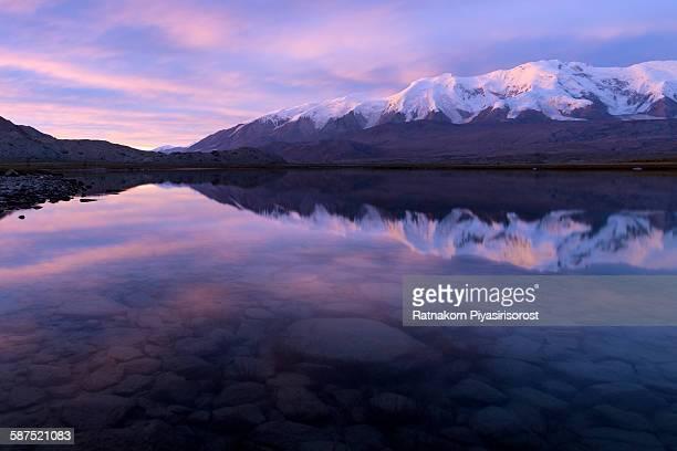 Sunset at Karakul Lake