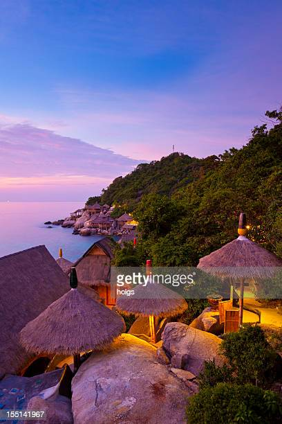 sunset at koh tao, thailand - ko samui stock photos and pictures