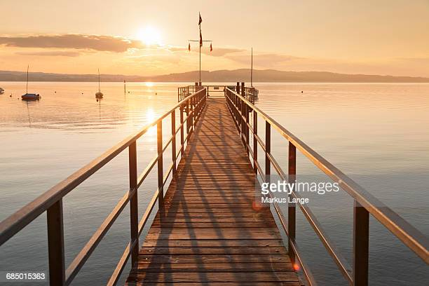 Sunset at Lake Constance, near Konstanz, Baden-Wurttemberg, Germany, Europe