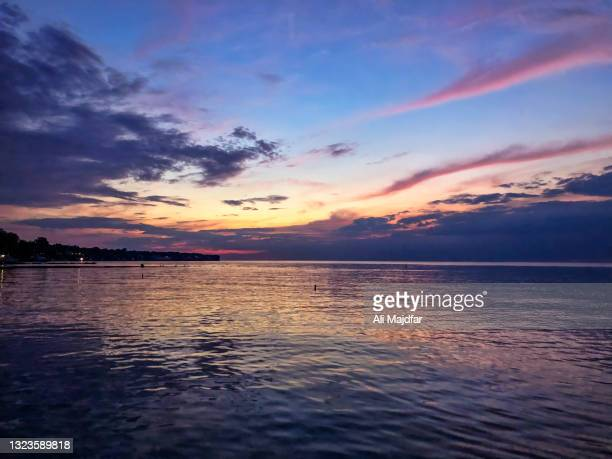 sunset at lake erie - cleveland ohio stock pictures, royalty-free photos & images