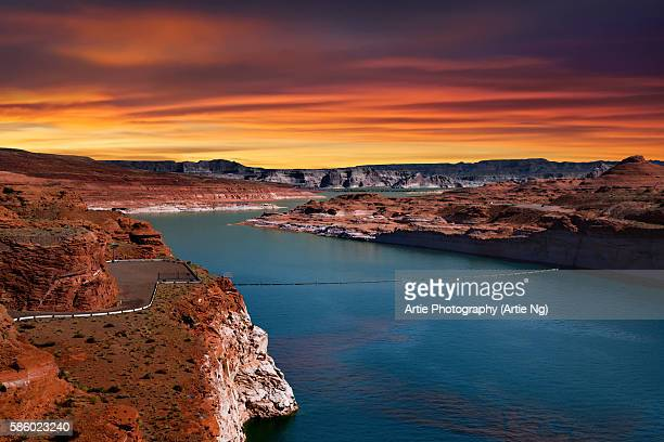 Sunset at Lake Powell on the Colorado River between Utah and Arizona, United States of America
