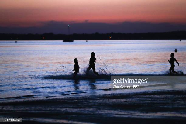 Sunset at Les Sables Blancs beach during the FIFA U20 Women's World Cup France 2018 on August 6 2018 in Concarneau France