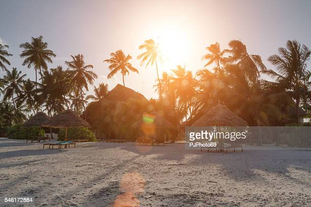 sunset at low tide with resort in background - zanzibar - pjphoto69 stock pictures, royalty-free photos & images