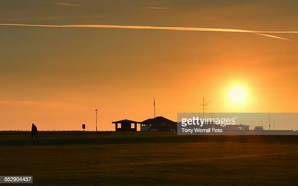 sunset at lytham st annes - lytham st. annes stock photos and pictures
