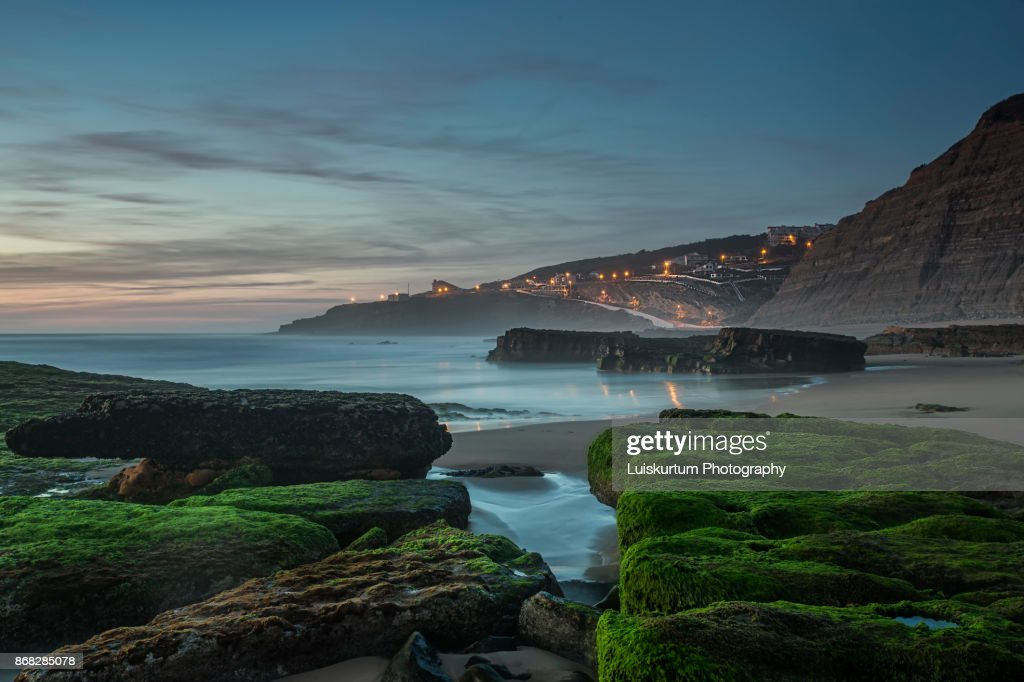 Sunset at Magoito beach : Stock Photo