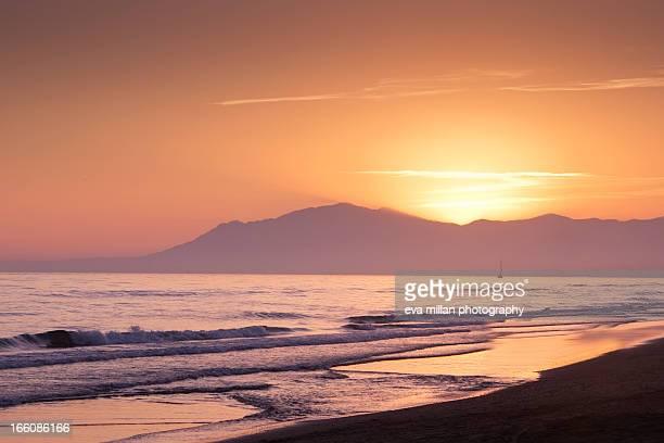 Sunset at Marbella beach, Spsin