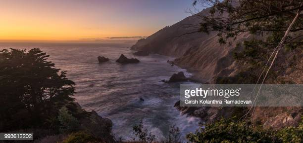 sunset at mcway falls - mcway falls stock pictures, royalty-free photos & images