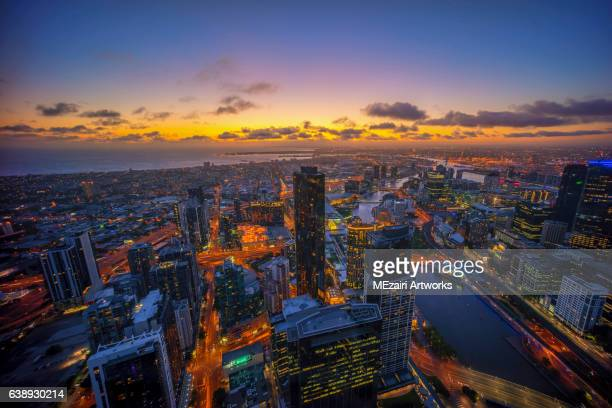 Sunset at Melbourne city