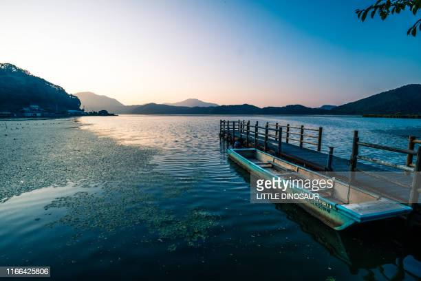 sunset at mikata lake. trapa japonica colonies float on the quiet water surface. fukui, japan - trapa stock pictures, royalty-free photos & images
