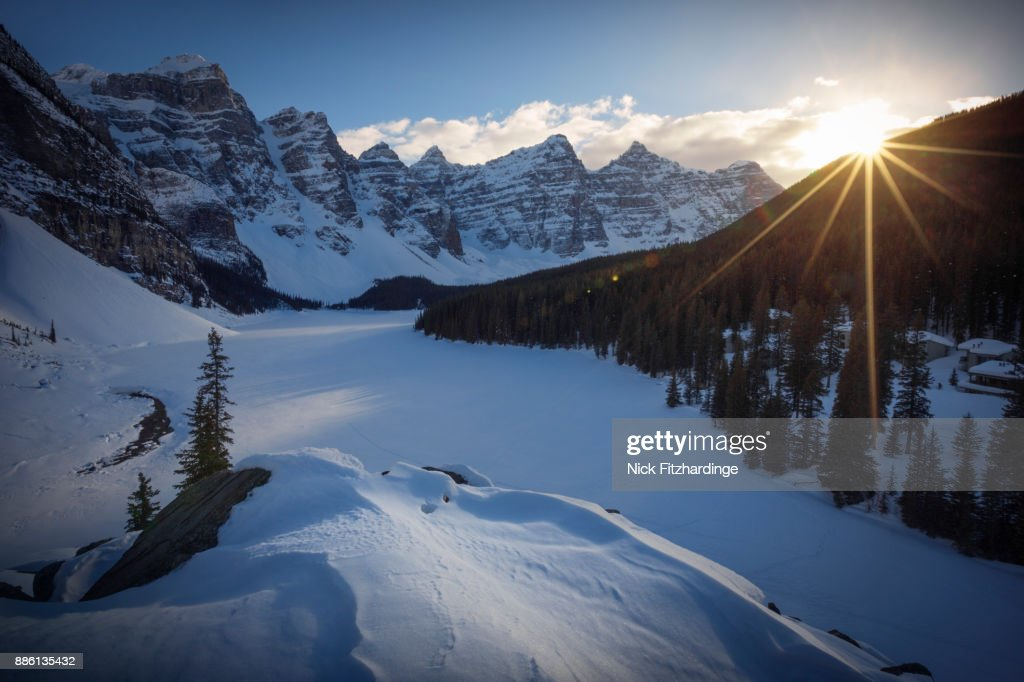 Sunset At Moraine Lake In Winter From The Top Of The