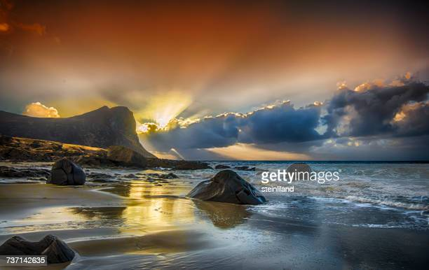 Sunset at Myrland, Flakstad, Lofoten, Nordland, Norway