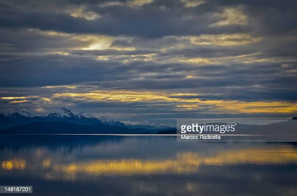 sunset at nahuel huapi lake - radicella stock pictures, royalty-free photos & images