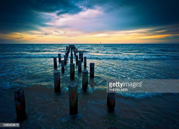 sunset at naples beach florida - naples florida stock pictures, royalty-free photos & images