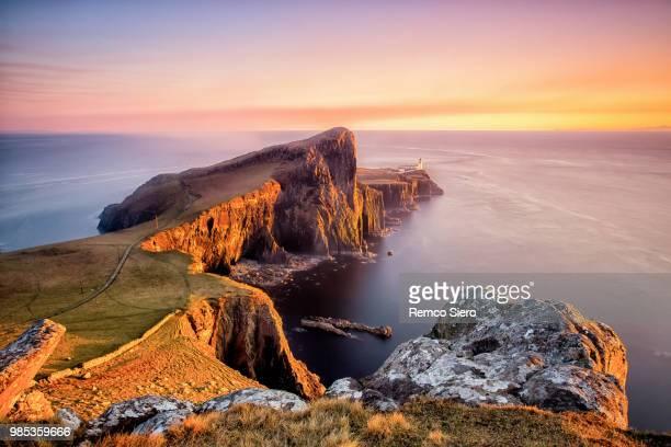 sunset at neist point, ilse of skye, scotland - scotland stock pictures, royalty-free photos & images