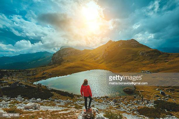 sunset at passo falzarego, dolomites, italy, - トレンティーノ ストックフォトと画像