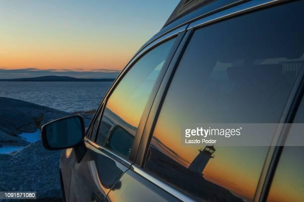 sunset at peggy's cove - モータービークル ストックフォトと画像