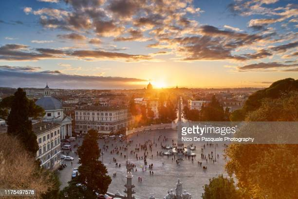 sunset at piazza del popolo - nico de pasquale photography stock pictures, royalty-free photos & images