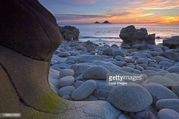 Sunset at Porth Nanven which is known locally as Dinosaur Egg Beach due to the ovoid boulders found there.