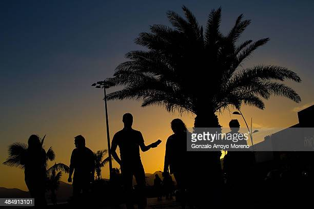 Sunset at Puerto del Carmen promenade on April 13 2014 in Lanzarote Spain Lanzarote where British Prime Minister David Cameron and his wife Samantha...