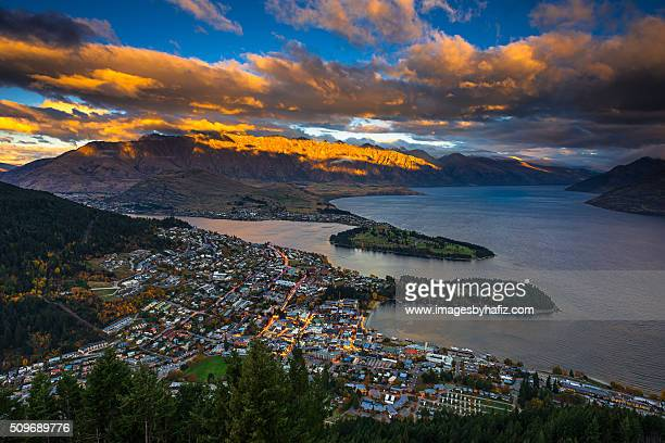 Sunset at Queenstown and the Remarkables.