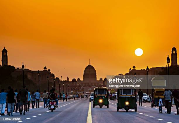 sunset at rashtrapati bhavan, india. - new delhi stock pictures, royalty-free photos & images