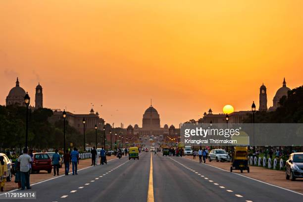sunset at rashtrapati bhavan, india. - india politics stock pictures, royalty-free photos & images