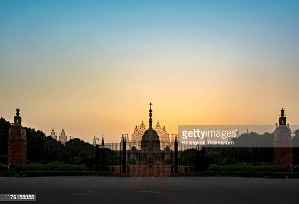 sunset at rashtrapati bhavan, new delhi. - ancient stock pictures, royalty-free photos & images