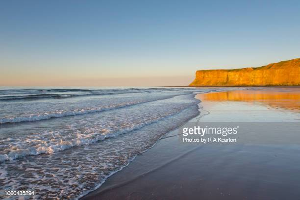 sunset at saltburn-by-the-sea, north yorkshire, england - saltburn stock photos and pictures
