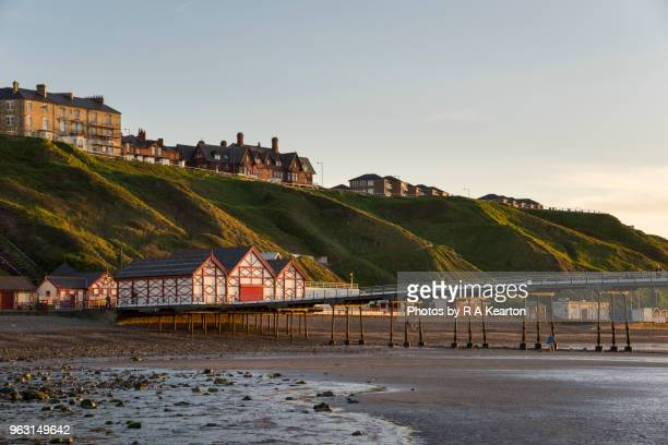 sunset at saltburn-by-the-sea, north yorkshire, england - northeastern england stock photos and pictures