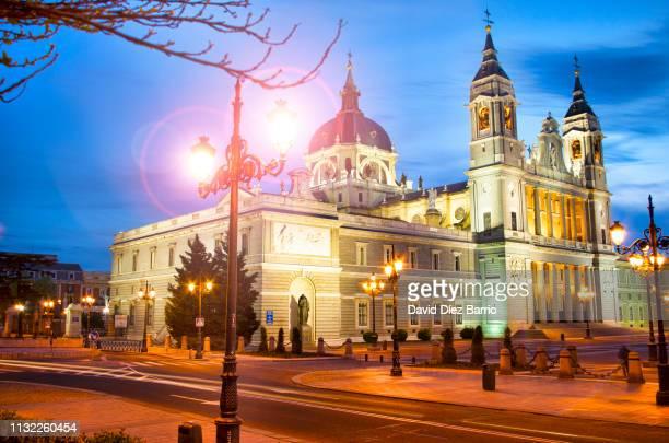 Sunset at Santa María la Real de La Almudena Cathedral, Madrid, Spain