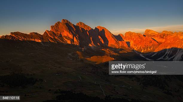 sunset at seceda, alpe di suisi, italy - rudy ray moore stock photos and pictures