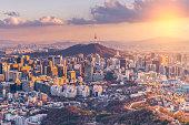Sunset at Seoul City Skyline,South Korea.