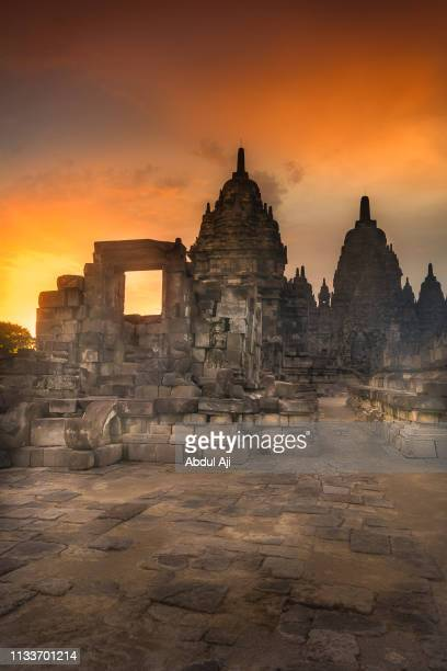 sunset at sewu temple, central java, indonesia - east java province stock pictures, royalty-free photos & images