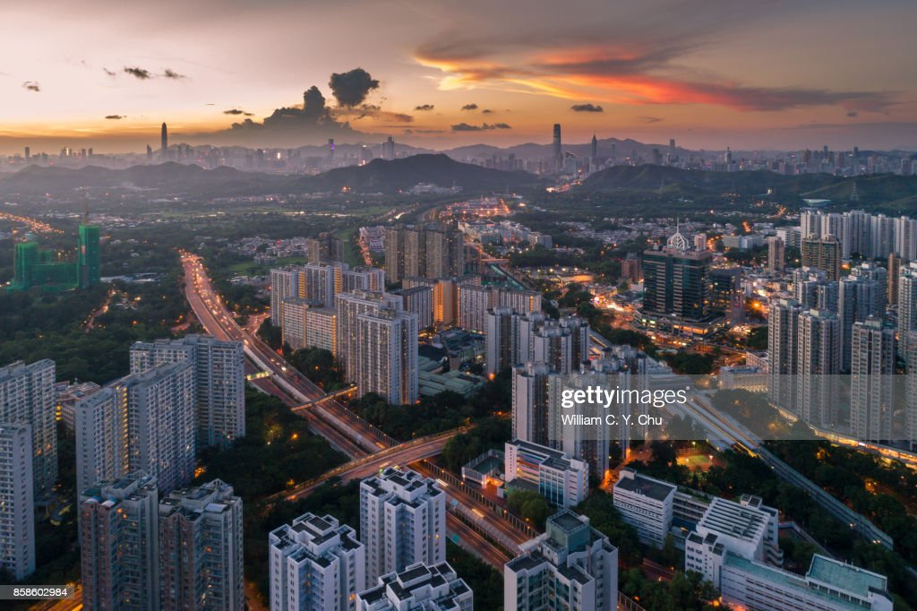 Sunset at Sheung Shui, Hong Kong : Stock-Foto