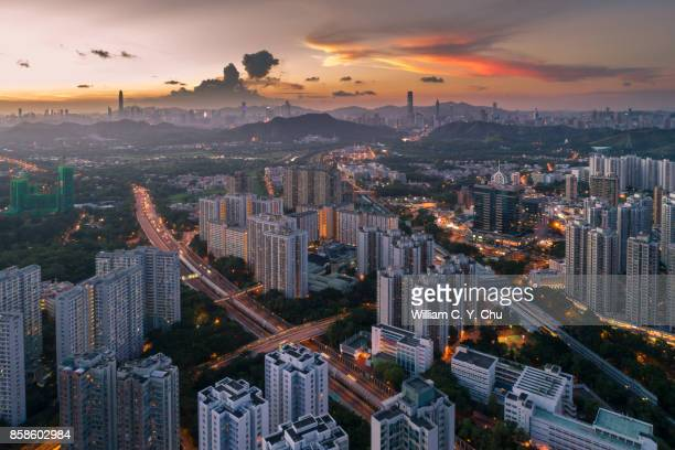 sunset at sheung shui, hong kong - guangdong province stock photos and pictures