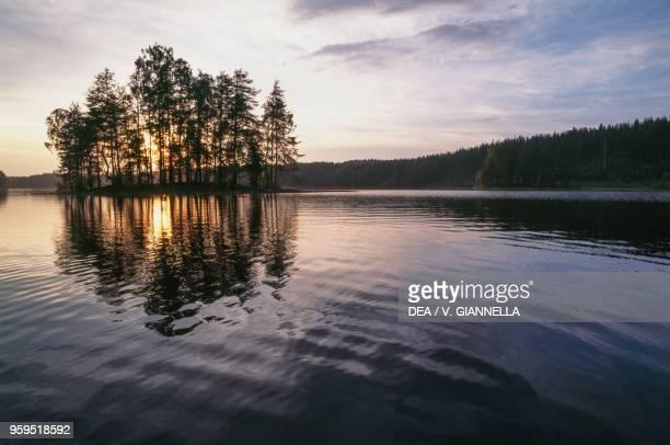 Sunset at Sillankorva on the Lieksa River Finland