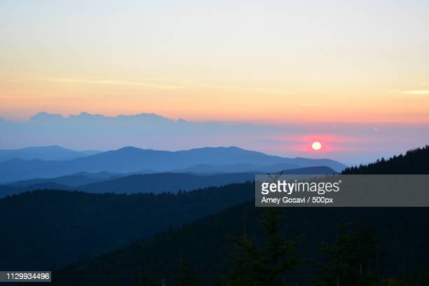 sunset at smokey mountains - clingman's dome - clingman's dome - fotografias e filmes do acervo