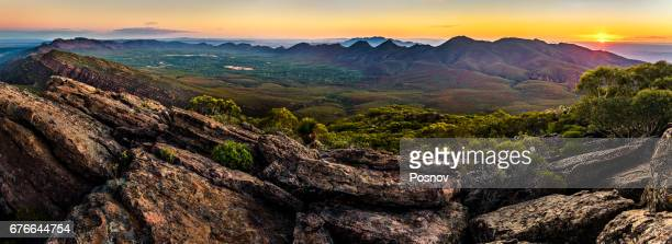 Sunset at St Mary Peak,  the highest mountain of Wilpena Pound, a natural amphitheater of mountains in Flinders Ranges.
