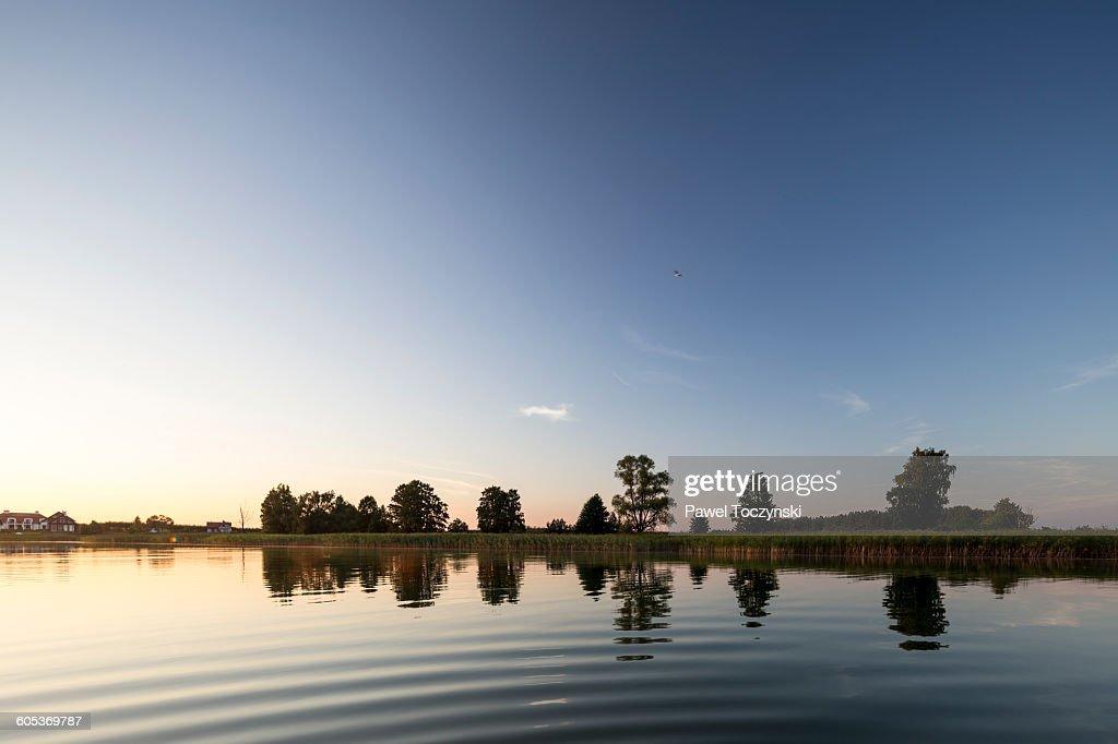 Sunset at Stackie Lake, Masuria Lake District : Stock Photo