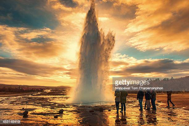 Sunset at Strokkur Geyser