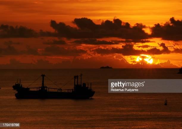 CONTENT] Sunset at Teluk Bayur Padang West Sumatra Indonesia views from the Bukit Lampu Hill Enchanting beauty of sunset in Teluk Bayur port very...