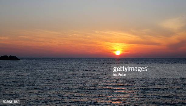 Sunset at the Adaman Sea on January 04 2015 in Similan Islands Thailand