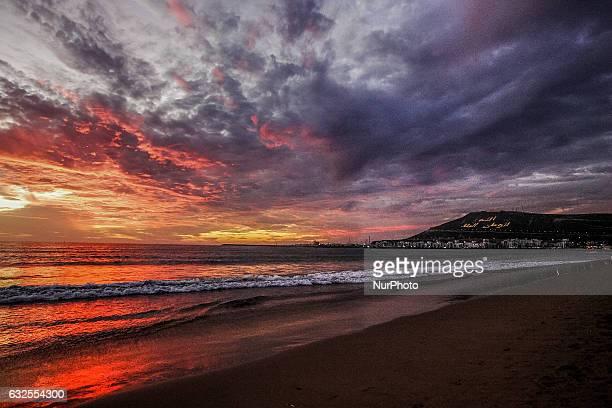 Sunset at the Atlantic Ocean coast is seen on 16 November 2011 in Agadir Morocco