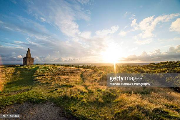 sunset at the beacon - lancashire stock pictures, royalty-free photos & images