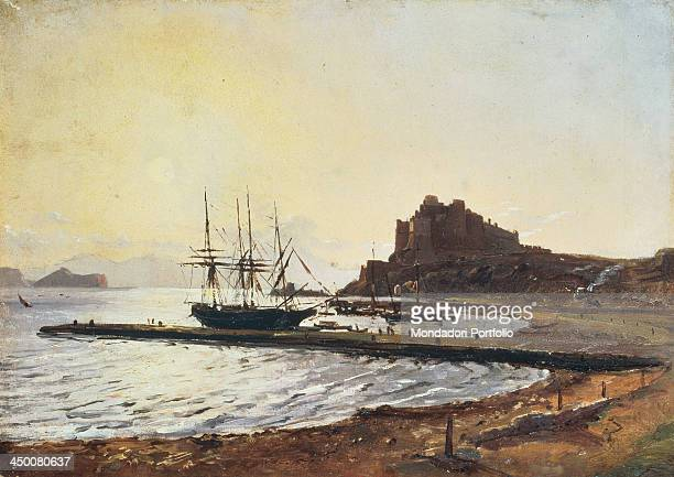 Sunset at the Castle of Baia by Anton Sminck Pitloo XIX secolo oil on cardboard 22 x 32 cm